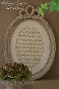 Cottage-et-Patine-Cadre-a-noeud-lin-ecritures-anciennes1