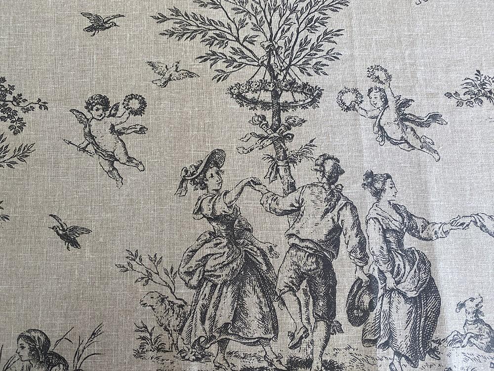Tissu Jouy sable et antracite - Abat-jours faits mains selon vos goûts