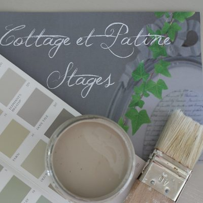 PHOTO COTTAGE ET PATINE PINCEAU PIENTURE LOGO